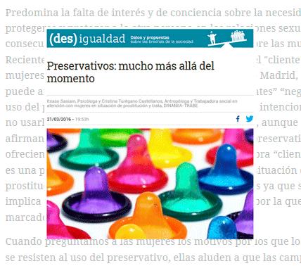 Uso preservativo estudio Asociación Trabe
